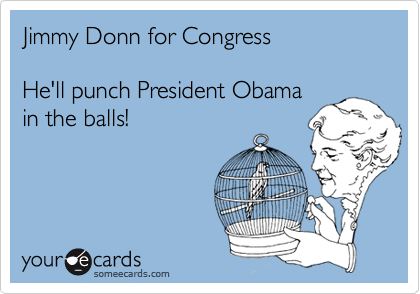 Jimmy Donn for Congress  He'll punch President Obama in the balls!