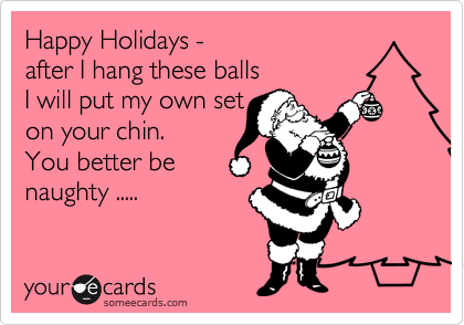 Happy Holidays -  after I hang these balls I will put my own set on your chin. You better be  naughty .....