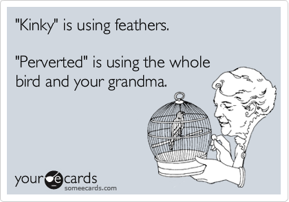 """""""Kinky"""" is using feathers.""""Perverted"""" is using the wholebird and your grandma."""