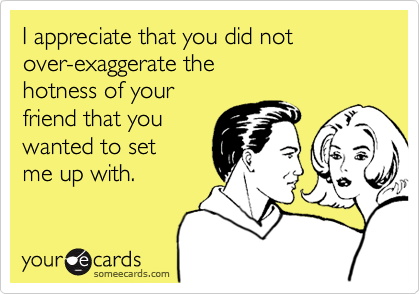 I appreciate that you did not over-exaggerate the hotness of your friend that you wanted to set me up with.