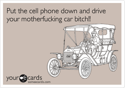 Put the cell phone down and drive your motherfucking car bitch!!