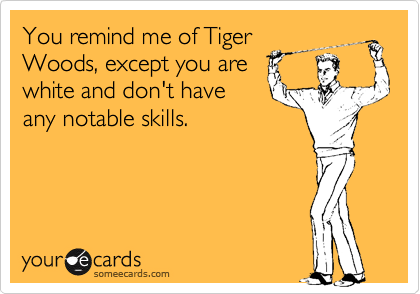 You remind me of Tiger Woods, except you are white and don't have any notable skills.