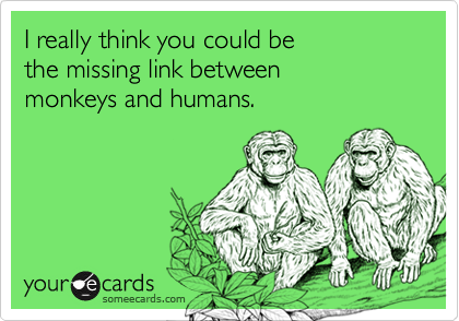 I really think you could be the missing link betweenmonkeys and humans.
