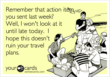 Remember that action itemyou sent last week?Well, I won't look at ituntil late today.  Ihope this doesn'truin your travelplans.