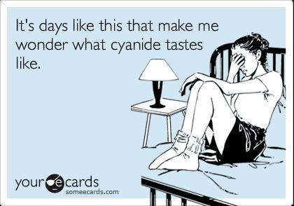 It's days like this that make mewonder what cyanide tasteslike.