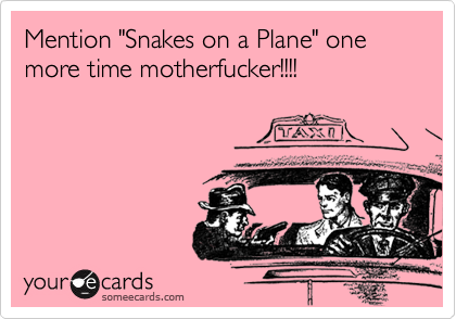 "Mention ""Snakes on a Plane"" one more time motherfucker!!!!"