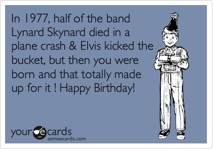 In 1977, half of the band Lynard Skynard died in a plane crash & Elvis kicked the bucket, but then you were born and that totally made up for it ! Happy Birthday!