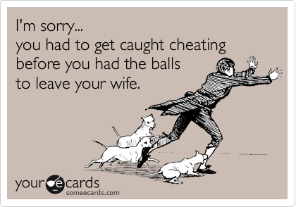 I'm sorry... you had to get caught cheating before you had the balls  to leave your wife.