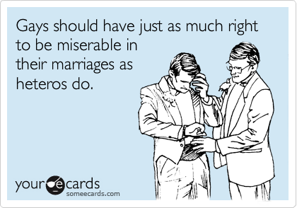Gays should have just as much right to be miserable in their marriages as heteros do.