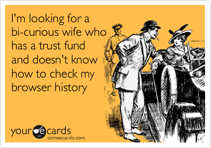 I'm looking for a bi-curious wife who has a trust fund and doesn't know how to check my browser history