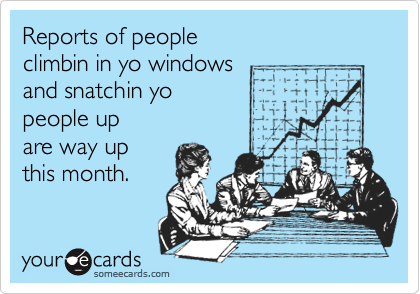 Reports of people  climbin in yo windows  and snatchin yo  people up are way up this month.