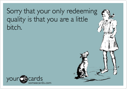 Sorry that your only redeeming quality is that you are a little bitch.
