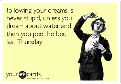 following your dreams is never stupid, unless you dream about water and then you pee the bed last Thursday.