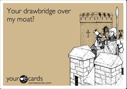 Your drawbridge over my moat?