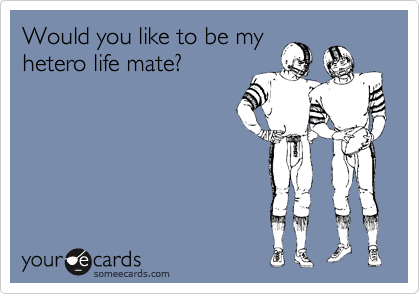 Would you like to be my hetero life mate?