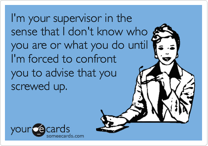 I'm your supervisor in the sense that I don't know who you are or what you do until I'm forced to confront you to advise that you screwed up.