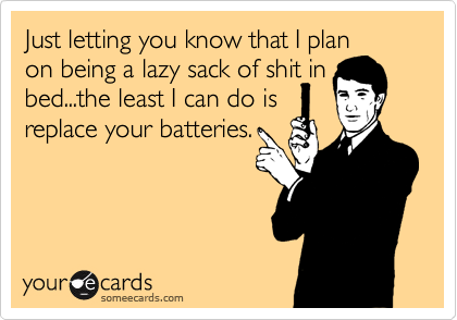 Just letting you know that I plan on being a lazy sack of shit in bed...the least I can do is replace your batteries.
