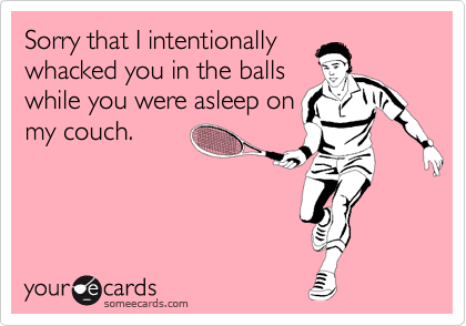 Sorry that I intentionally whacked you in the balls while you were asleep on my couch.