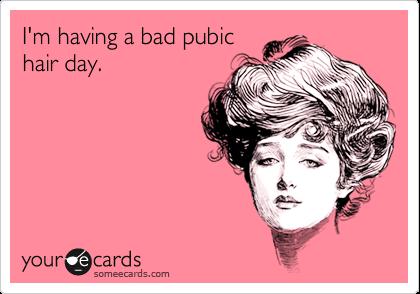 I'm having a bad pubic hair day.