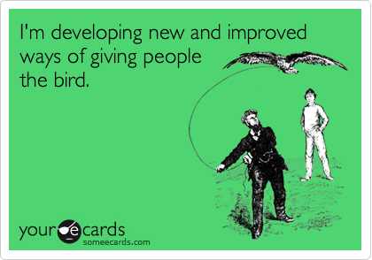 I'm developing new and improved ways of giving people the bird.