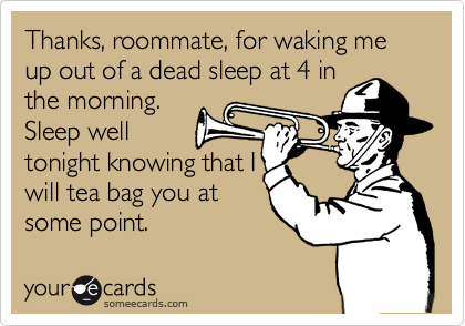 Thanks, roommate, for waking me up out of a dead sleep at 4 in the morning. Sleep well tonight knowing that I will tea bag you at  some point.