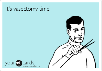 It's vasectomy time!