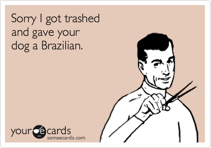 Sorry I got trashed and gave your dog a Brazilian.