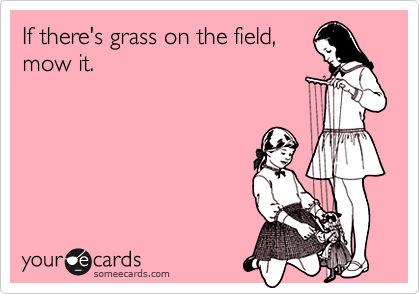 If there's grass on the field, mow it.