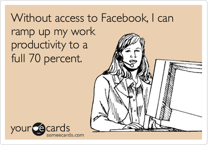 Without access to Facebook, I can ramp up my work productivity to a full 70 percent.