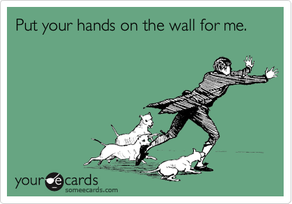 Put your hands on the wall for me.