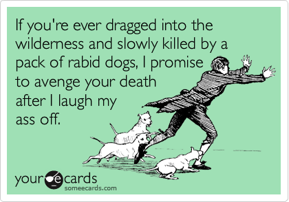 If you're ever dragged into the wilderness and slowly killed by a  pack of rabid dogs, I promise to avenge your death after I laugh my ass off.