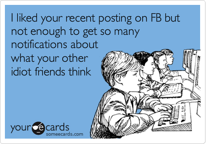 I liked your recent posting on FB but not enough to get so many notifications about what your other idiot friends think