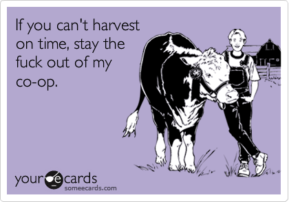 If you can't harvest on time, stay the fuck out of my co-op.