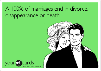 A 100% of marriages end in divorce, disappearance or death