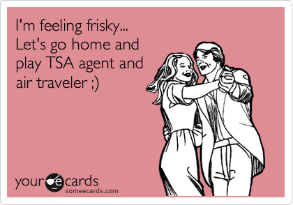 I'm feeling frisky... Let's go home and play TSA agent and air traveler ;%29