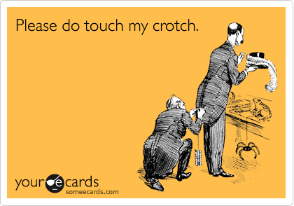 Please do touch my crotch.
