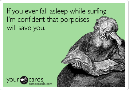 If you ever fall asleep while surfing I'm confident that porpoises will save you.