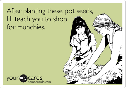 After planting these pot seeds, I'll teach you to shop for munchies.