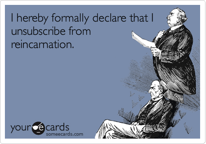 I hereby formally declare that I unsubscribe from reincarnation.