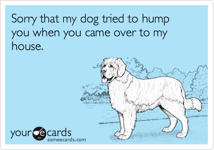 Sorry that my dog tried to hump you when you came over to my house.