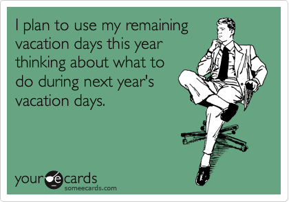 I plan to use my remaining vacation days this year thinking about what to  do during next year's  vacation days.