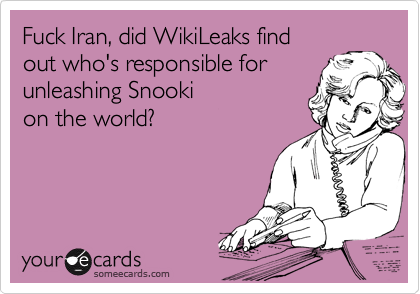 Fuck Iran, did WikiLeaks find out who's responsible for unleashing Snooki  on the world?