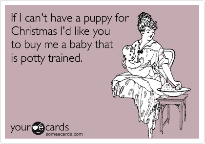 If I can't have a puppy for Christmas I'd like you to buy me a baby that is potty trained.