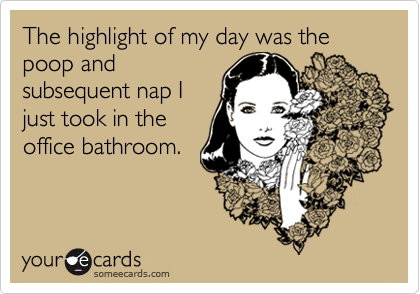The highlight of my day was the poop and subsequent nap I just took in the office bathroom.
