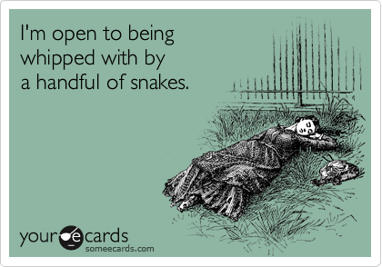 I'm open to being whipped with by a handful of snakes.