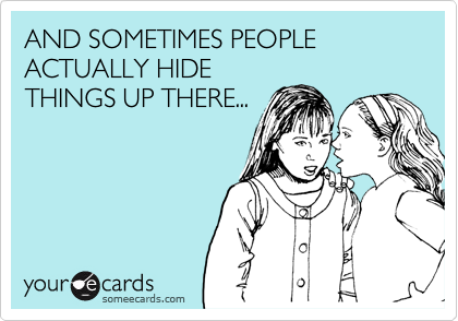 AND SOMETIMES PEOPLE ACTUALLY HIDE THINGS UP THERE...