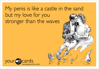 My penis is like a castle in the sand   but my love for you stronger than the waves