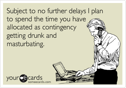 Subject to no further delays I plan to spend the time you have allocated as contingency getting drunk and masturbating.