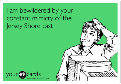 I am bewildered by your  constant mimicry of the  Jersey Shore cast