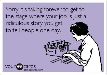 Sorry it's taking forever to get to the stage where your job is just a ridiculous story you get to tell people one day.